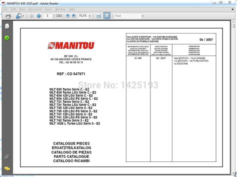 Manitou Forklift Parts Catalogs, Service Manuals And