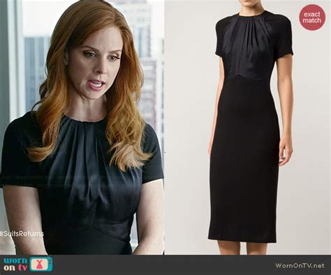 WornOnTV: Donna's black short sleeved dress with gathered