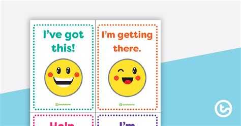 Emoji Themed Self-Assessment Desk Cards Teaching Resource