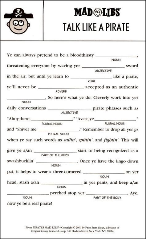 Pirates Mad Libs | Additional Photo (Inside Page): | work