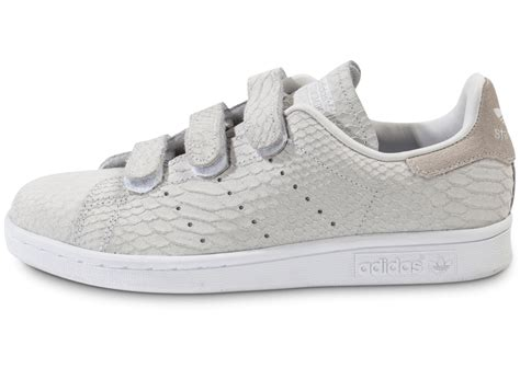 adidas Stan Smith Cf Velcro grise - Chaussures adidas