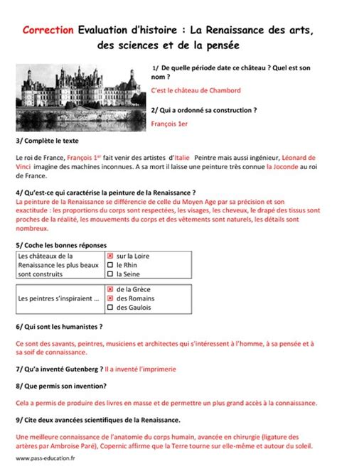 Arts - Sciences - Pensée – Cm1 – Evaluation - Pass Education