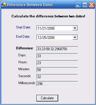 Calculate the Difference Between Two Dates Version 1