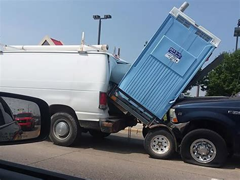 Truck crashes into van pulling portable toilet | East