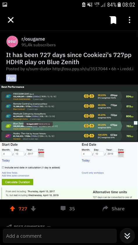 It has been 727 days since Cookiezi's 727pp HDHR play on