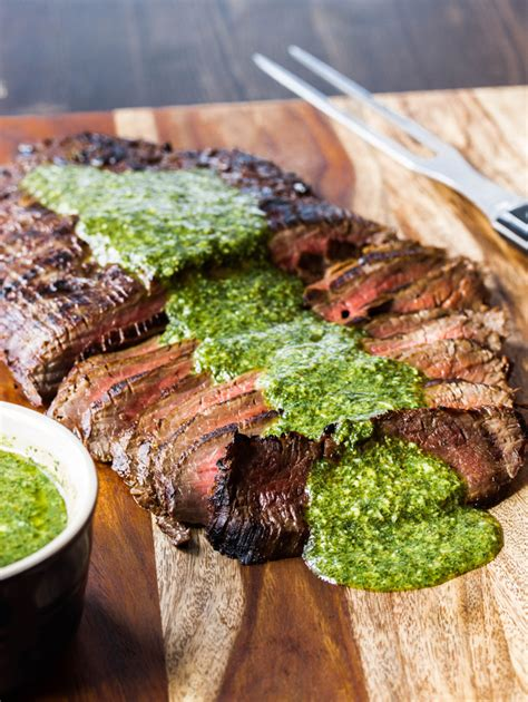Grilled Flank Steak with Chimichuri Sauce ~ Serve Steak on