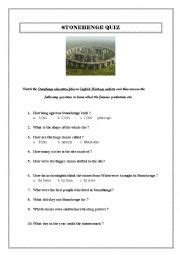 English worksheets: STONEHENGE QUIZ