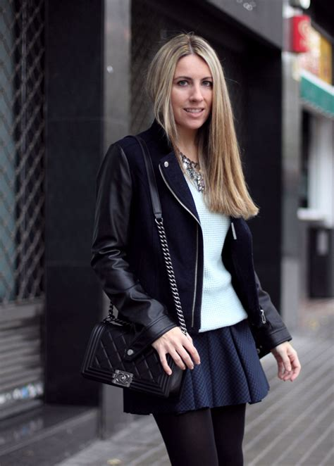 Boy Chanel bag with black and blue outfit - Fashion blog