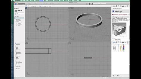 A simple band ring using Rhino 3d for mac - YouTube