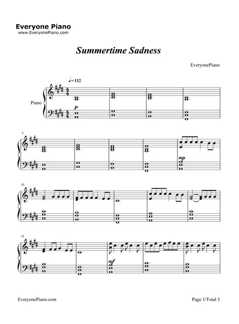 Summertime Sadness-Lana Del Rey Stave Preview