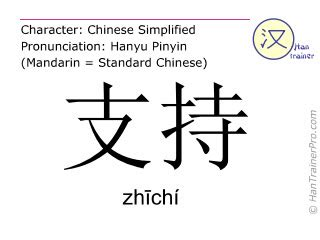 English translation of 支持 ( zhichi / zhīchí ) - to support