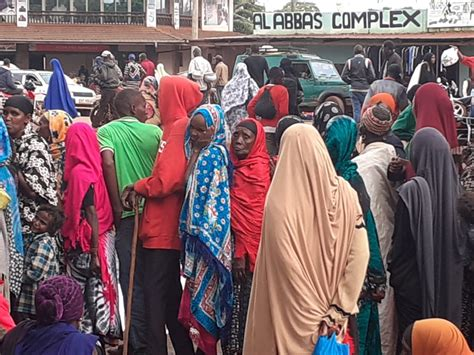 Beneficiaries queue for payment in Marsabit