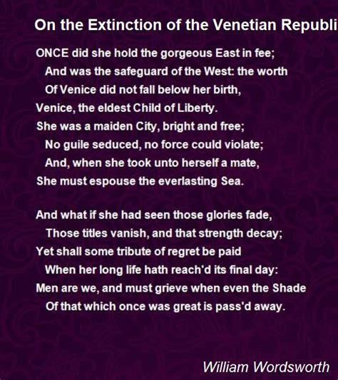On The Extinction Of The Venetian Republic Poem by William