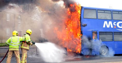 Fire crews tackle major blaze on a McGill's bus in Paisley